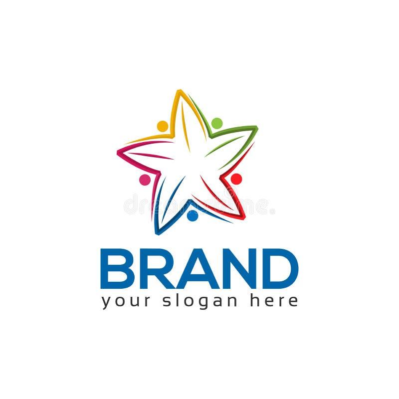 Teamarbeits-Logoschablone, bunte Leuteikone Sternleuteikone lizenzfreie abbildung