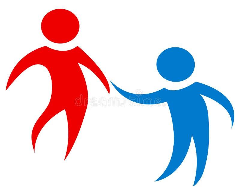 Teamarbeitszahlen in Rotem und in Blauem Einfaches und sauberes Design Geschossen von zwei weiblichen und ein Mannesbaumustern stock abbildung