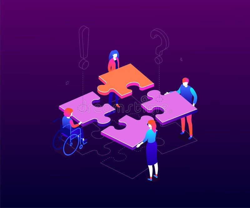 Teambuilding concept - modern colorful isometric vector illustration vector illustration