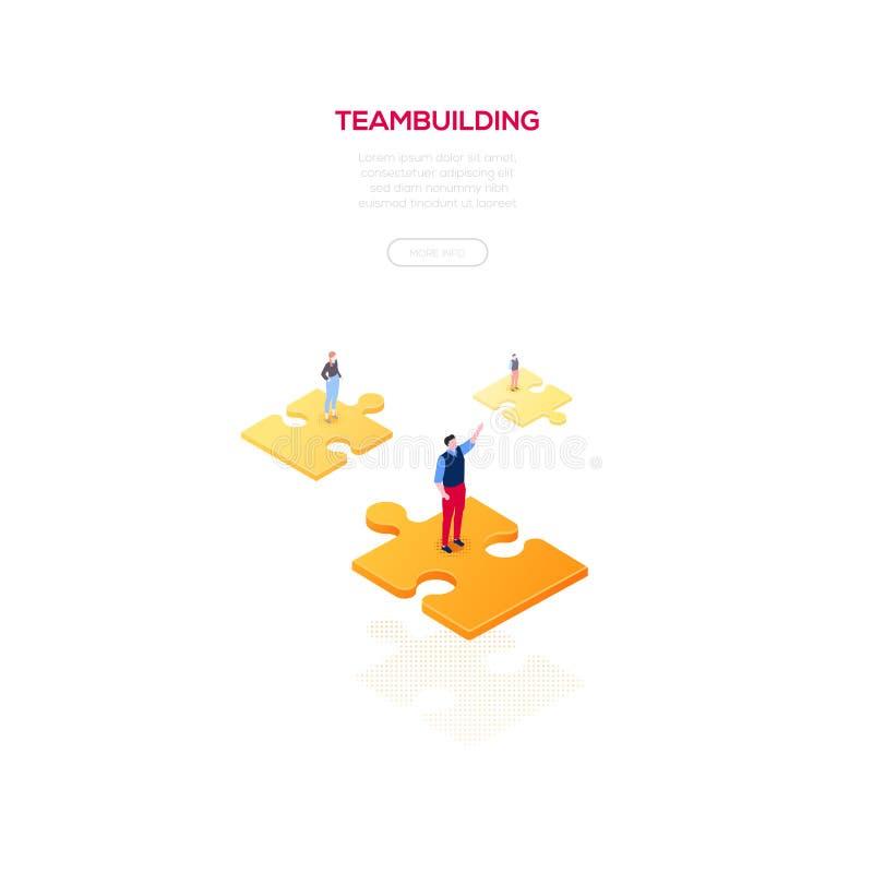 Teambuilding-Konzept - moderne isometrische Vektornetzfahne vektor abbildung