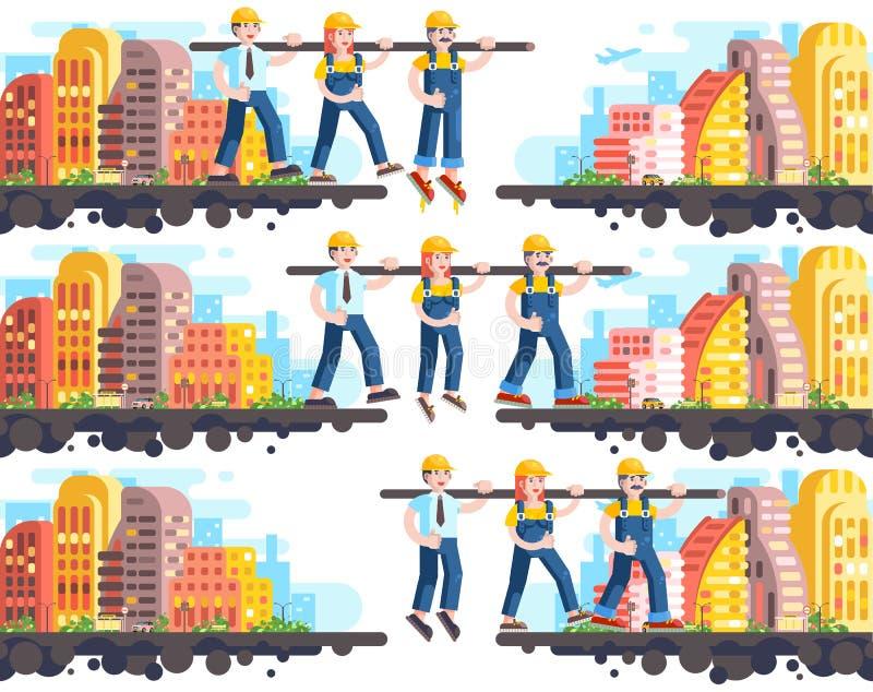, Teambuilding Management Errichten und Rechtshilfe des Geschäftsprozesses oder Teamwork, drei arbeitende Arbeitskräfte, Strategi vektor abbildung