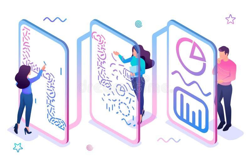 Teamet bearbetar data och genererar rapporter för analys Dataanalysbegrepp 3d isometriskt begrepp för webben stock illustrationer