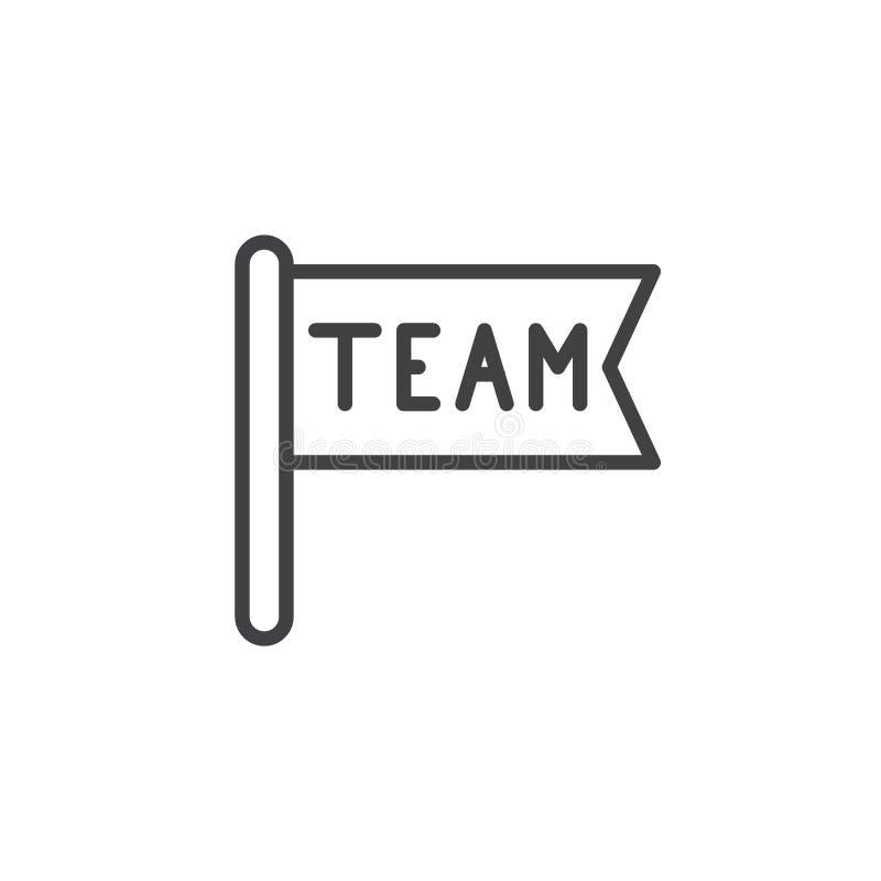 Teamflaggenlinie Ikone lizenzfreie abbildung