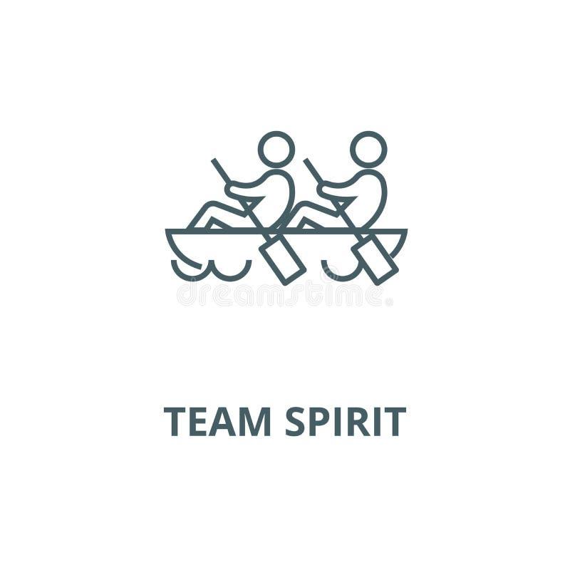 Teamgeist, Teamwork, Kanuvektorlinie Ikone, lineares Konzept, Entwurfszeichen, Symbol vektor abbildung