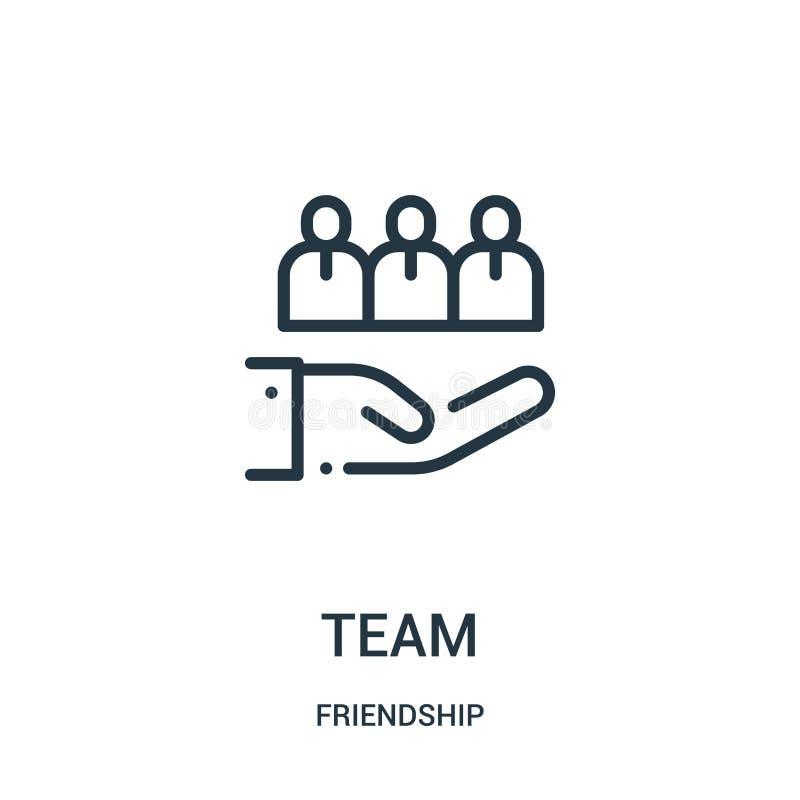 Teamikonenvektor von der Freundschaftssammlung Dünne Linie Teamentwurfsikonen-Vektorillustration Lineares Symbol für Gebrauch auf lizenzfreie abbildung
