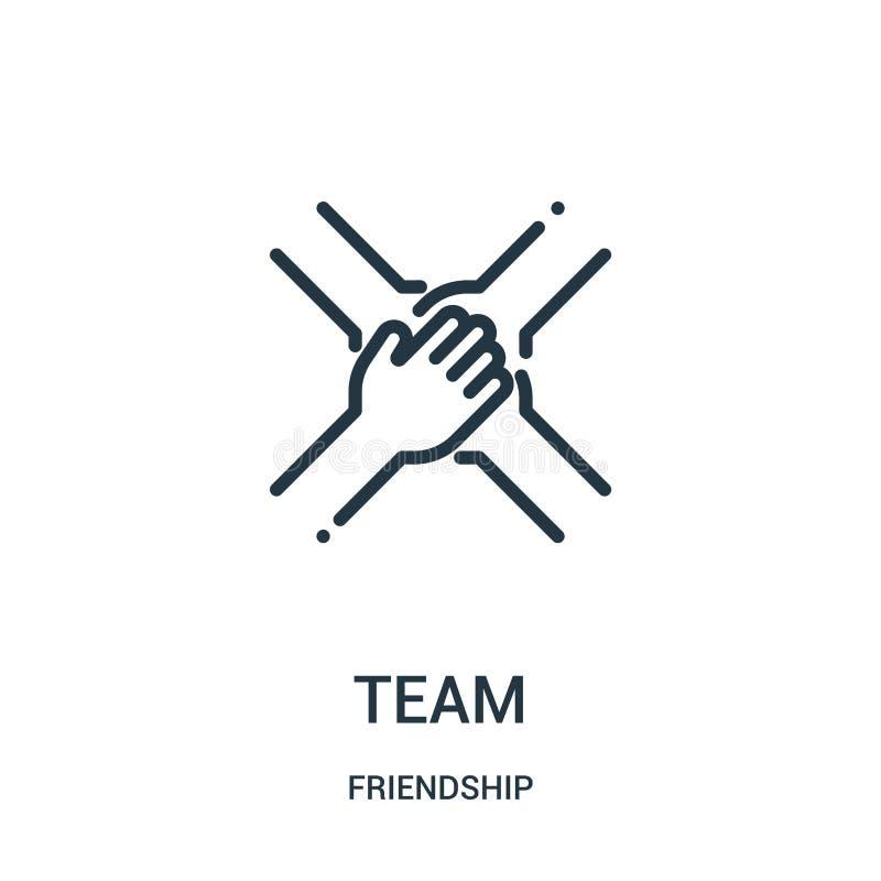 Teamikonenvektor von der Freundschaftssammlung Dünne Linie Teamentwurfsikonen-Vektorillustration Lineares Symbol für Gebrauch auf vektor abbildung