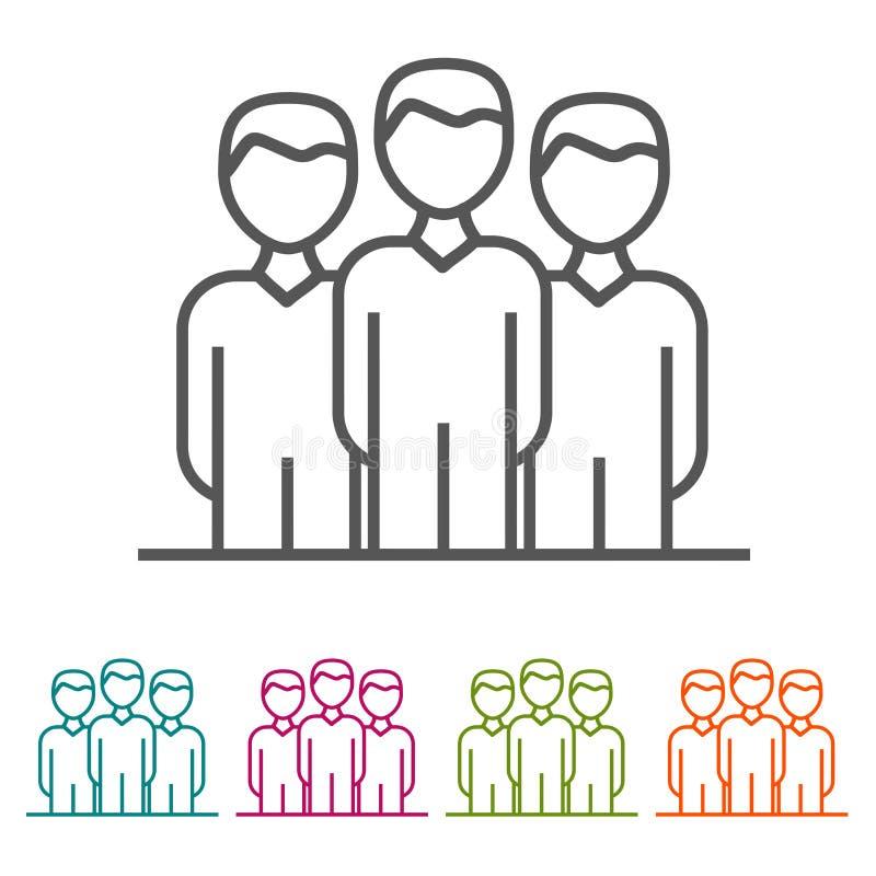 Teamleader在稀薄的线型和平的设计的商人象 向量例证
