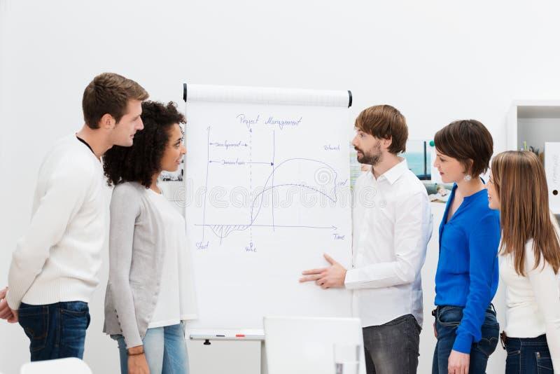 Teamleider die een presentatie geven royalty-vrije stock afbeeldingen