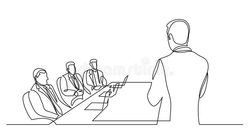 Teamleiter, der vor Vorstandsmitgliedern - Federzeichnung der einzelnen Zeile spricht stock abbildung