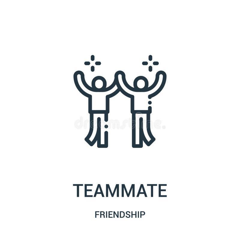 teammate pictogramvector van vriendschapsinzameling De dunne lijnteammate vectorillustratie van het overzichtspictogram Lineair s royalty-vrije illustratie