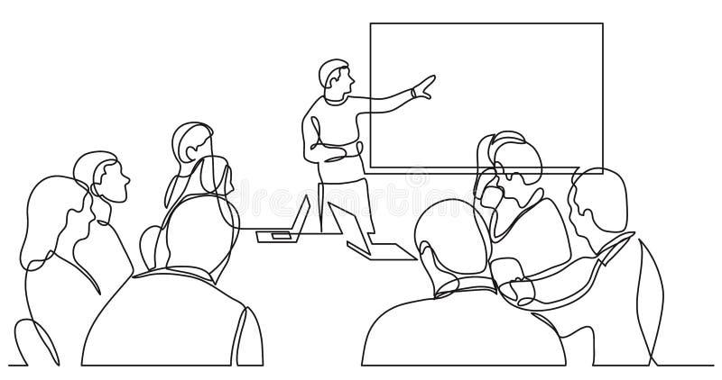 Teammitglied, das Arbeitsplan im fron des Gesch?ftsteams - Federzeichnung der einzelnen Zeile erkl?rt stock abbildung