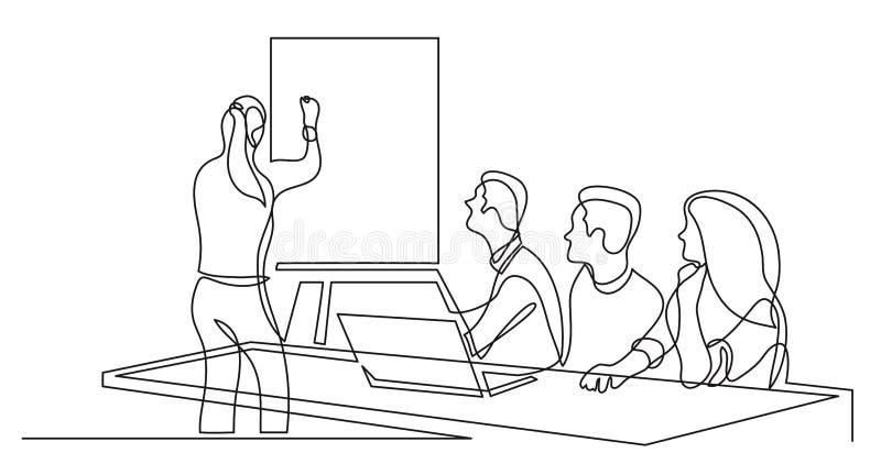 Teammitglied, das Darstellung vor Arbeitsteam - Federzeichnung der einzelnen Zeile macht lizenzfreie abbildung