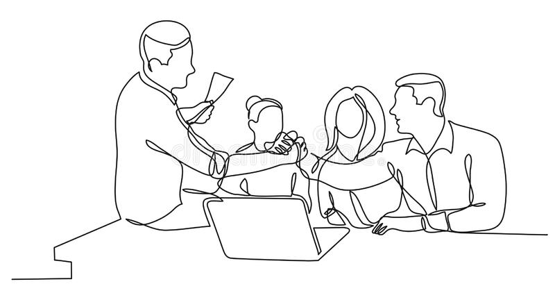 Teammitglieder, welche die H?nde zujubeln zum Erfolg in der Arbeit - Federzeichnung der einzelnen Zeile r?tteln vektor abbildung