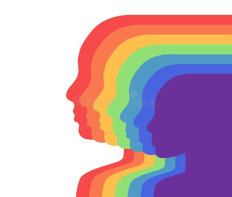 Teamregnbåge personer i profil. i lager illustration. Enhetlighet och erkännande av orientering. f?rgrika silhouettes. kantlagra royaltyfri illustrationer