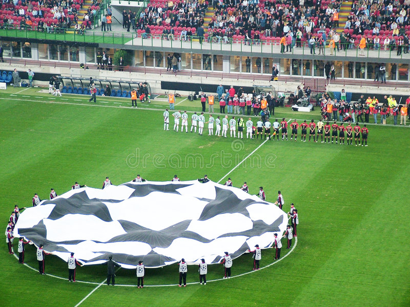 The teams presentation. Inside a football stadium during a champions league match - The teams presentation - Milan and Celtic - Milan - Italy royalty free stock image