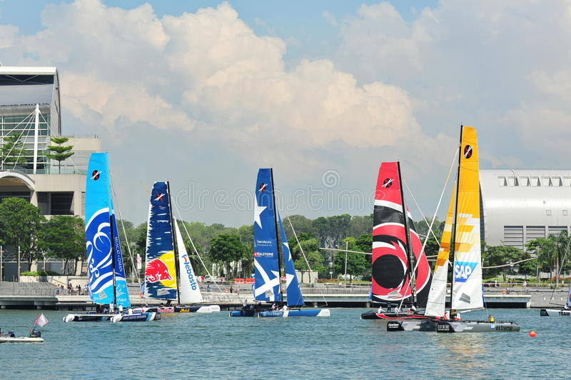 Download Teams Racing At The Extreme Sailing Series Singapore 2013 Editorial Image - Image: 30410720