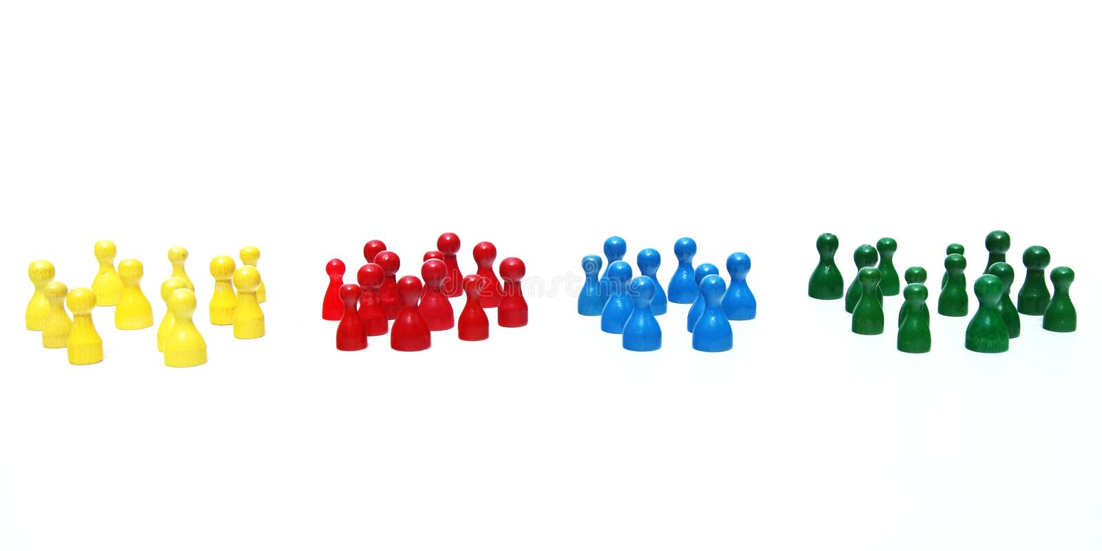 Teams. Several teams in different colors royalty free stock photo