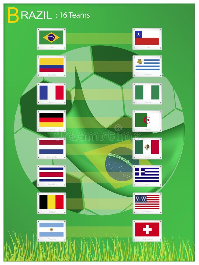16 Teams of Soccer Tournament in Brazil 2014 royalty free illustration