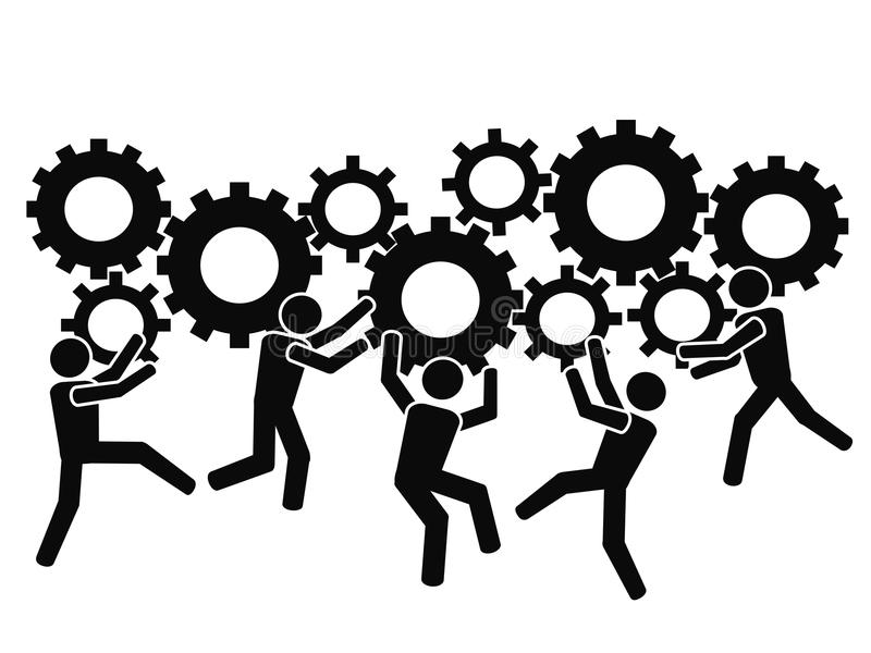 Teams working with gears stock illustration