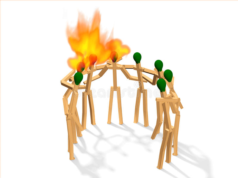 Teamspirit 1. Teamspirit abstract with matches on white royalty free stock photos