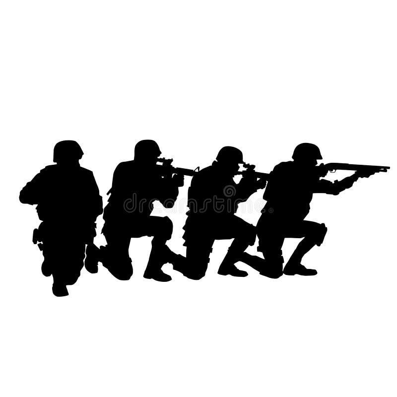 Teamvektorschwarzschattenbild der Polizeibesonderen kräfte stock abbildung