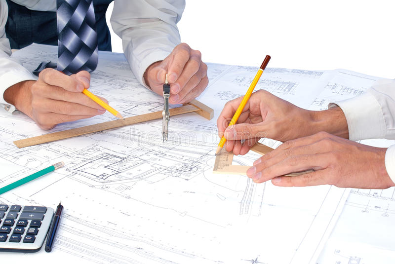 Teamwork. Projection -initial preparatory stage in construction new building stock image