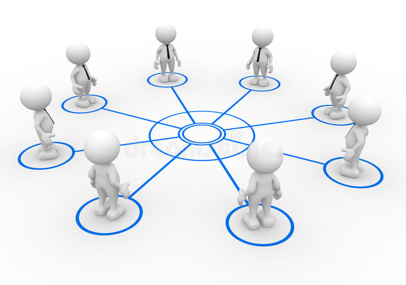 Teamwork. 3d people - man, person arranged in a circle stock illustration