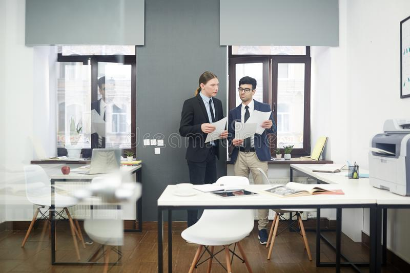 Teamwork of accountants stock photos