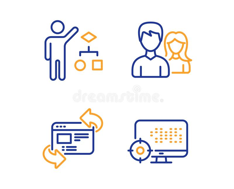 Teamwork, Algorithm and Refresh website icons set. Seo sign. Man with woman, Developers job, Update internet. Vector royalty free illustration