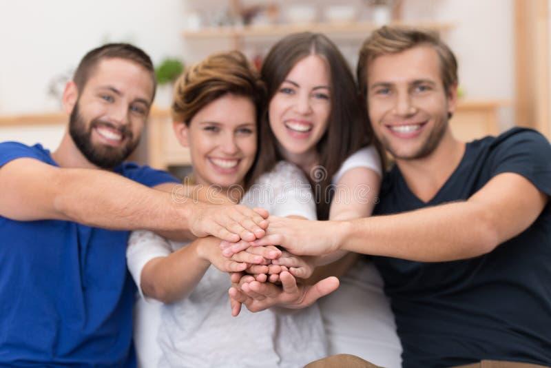 Teamwork amongst friends royalty free stock photos