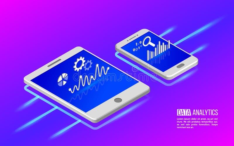 Teamwork-Analytikinformationen über Tablette und Smartphone vektor abbildung