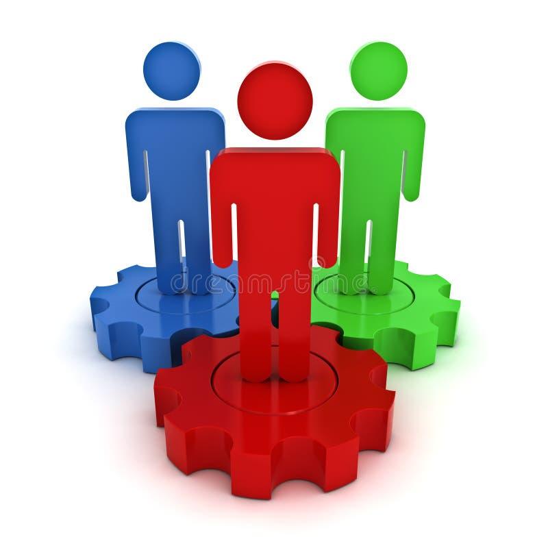 Teamwork auf Ganggeschäft und Führungskonzept über Weiß stock abbildung
