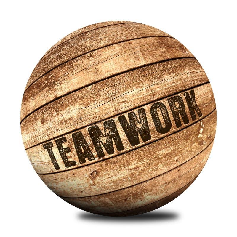 Teamwork auf hölzernem Ball vektor abbildung
