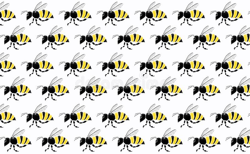 Teamwork of bee flying on white background stock photography