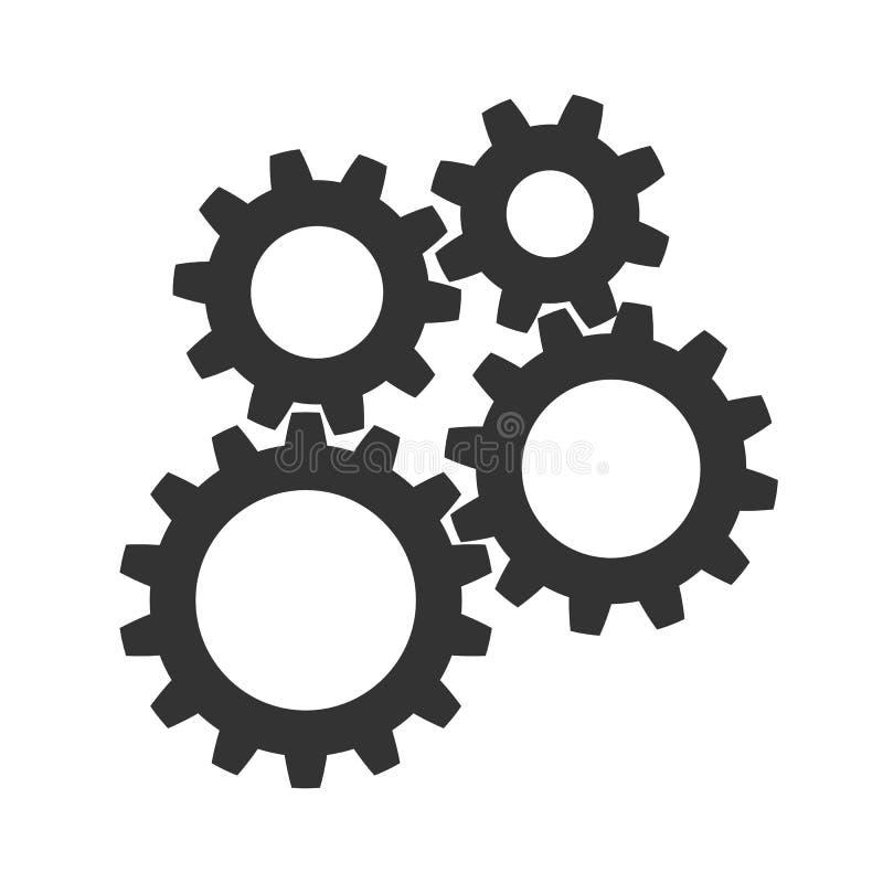 Teamwork begreppsaffärsframgång, färgade illustrationen för uppsättningkugghjulsymbolen - vektor vektor illustrationer
