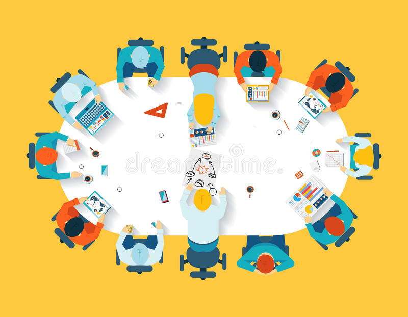 Teamwork. Business brainstorming top view vector illustration