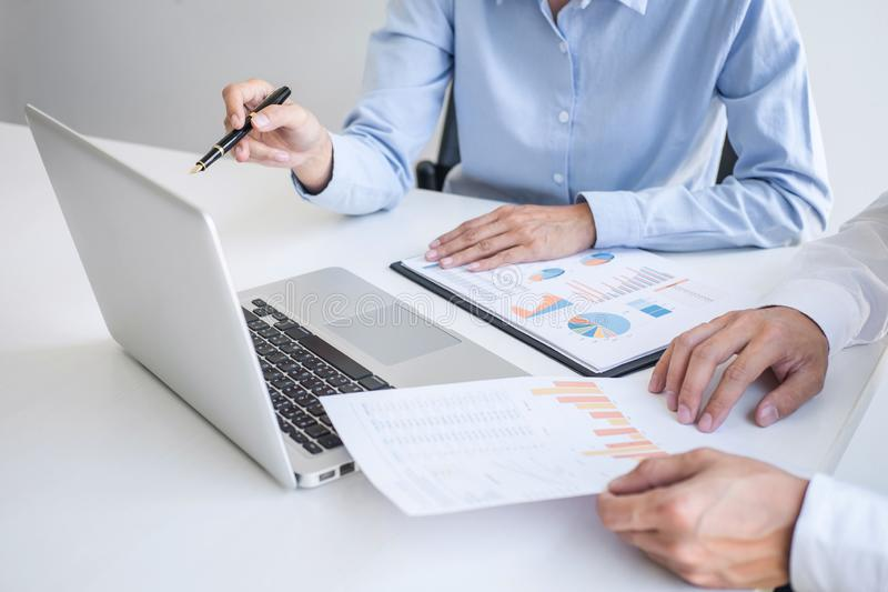 Teamwork of business colleagues, consultation new strategy plan business and market growth on financial document graph report, royalty free stock photography