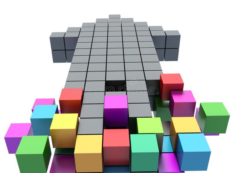 Teamwork business concept - arrow assembling from blocks royalty free illustration