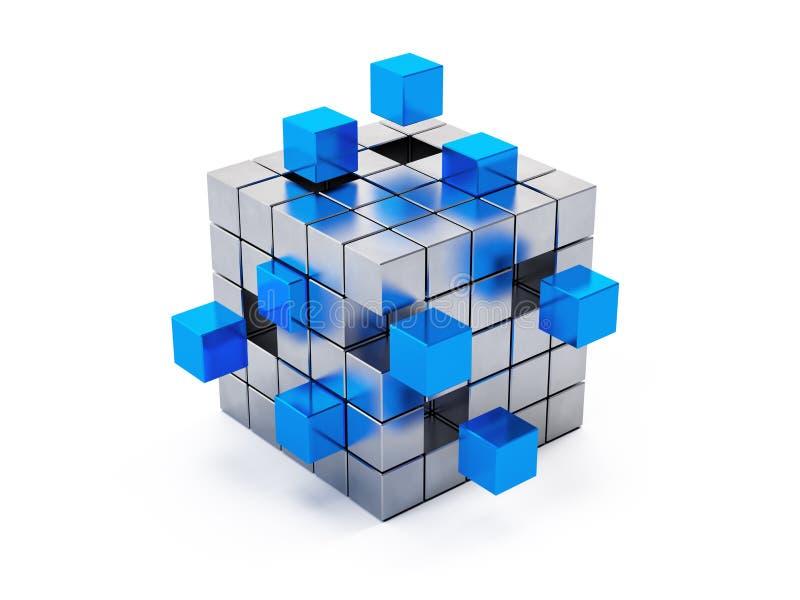 Teamwork business concept - cube assembling from blocks vector illustration