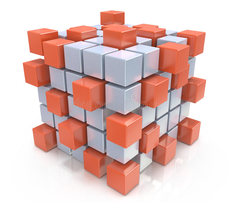 Teamwork business concept - cube assembling from blocks stock illustration