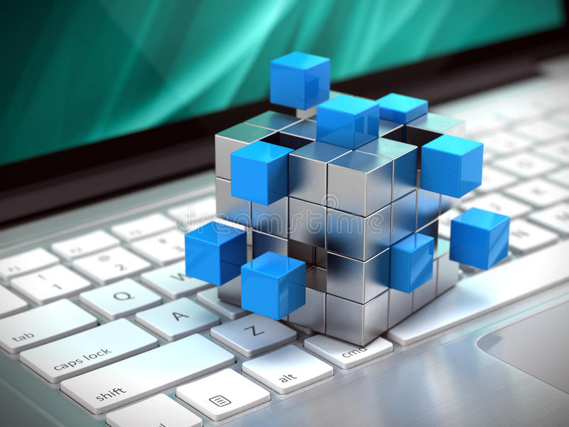 Teamwork business concept - cube assembling from blocks on laptop keyboard. 3d rendering royalty free illustration