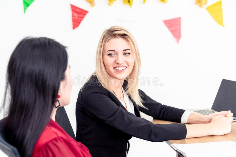 Teamwork business concept .Start up business people in modern office, working together having success. Multi ethnic start-up royalty free stock photography