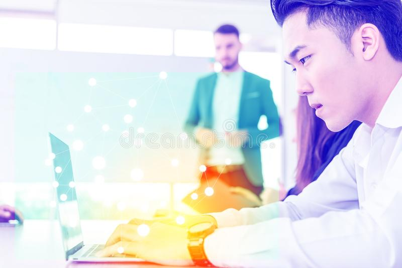 Teamwork business concept .Start up business people in modern office, working together having success. Multi ethnic start-up stock photos