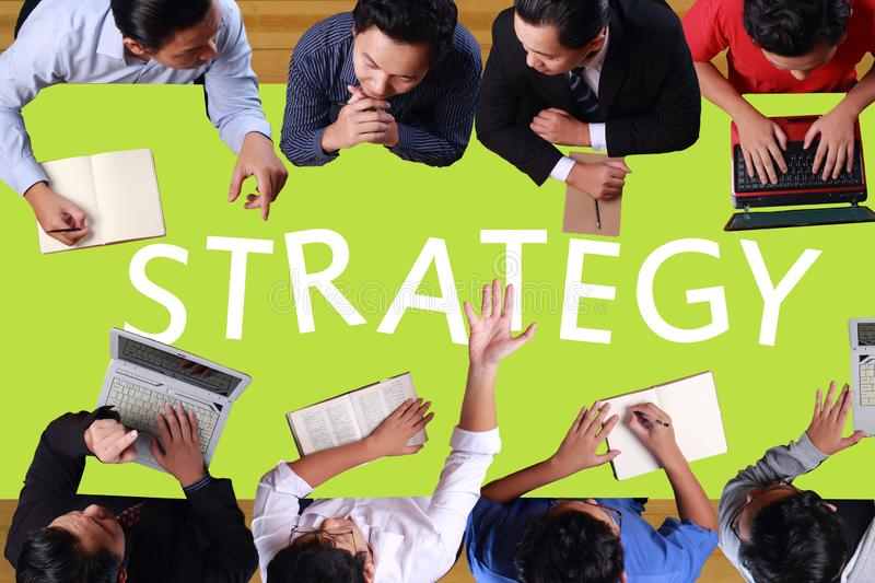 Teamwork in Business Concept. Top View Businessmen Meeting royalty free stock photography