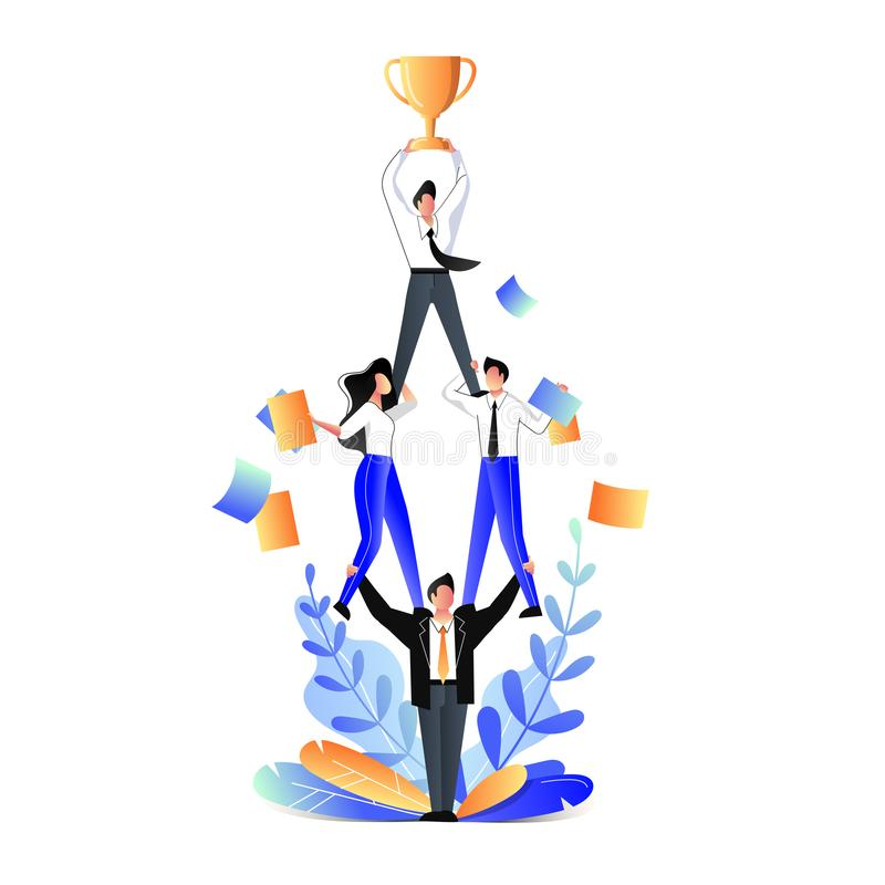 Teamwork business concept. Vector flat illustration. Businessmen acrobats standing in pyramid and holding team leader vector illustration