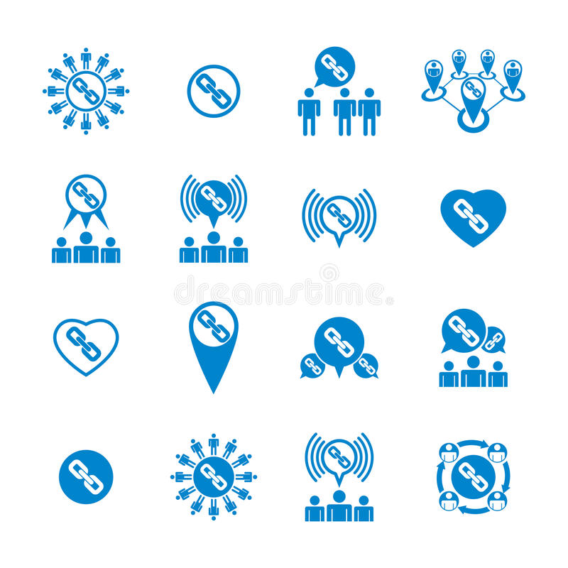 Teamwork And Business Cooperation Theme Creative Vector Icons Se Stock Vector