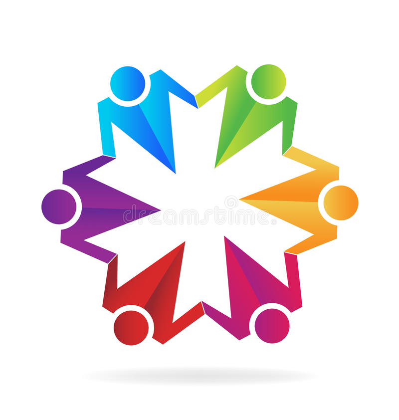 Teamwork Business Hugging People Logo Stock Vector - Illustration of ...