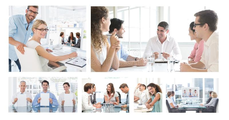 Teamwork business meeting collage royalty free stock image