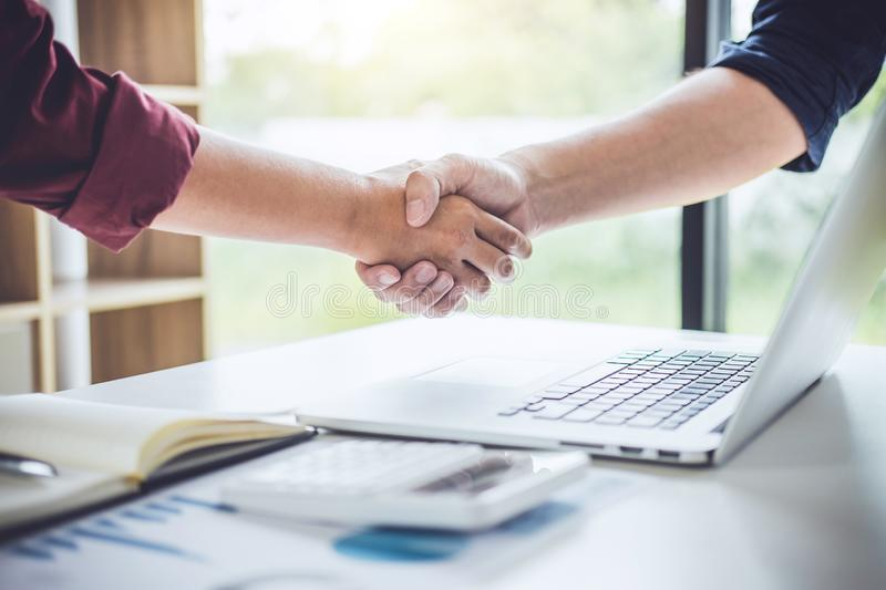 Teamwork of business partnership Handshaking after good cooperation, Consultation between businessman and customer, Trading contra royalty free stock photography