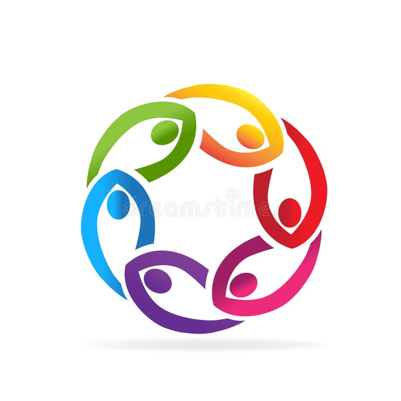 Teamwork business people in a circle shape icon vector logo stock illustration